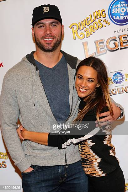 Michael Caussin and Jana Kramer attend the Ringling Bros Presents LEGENDS Nashville Celebrity Event on January 23 2015 in Nashville Tennessee