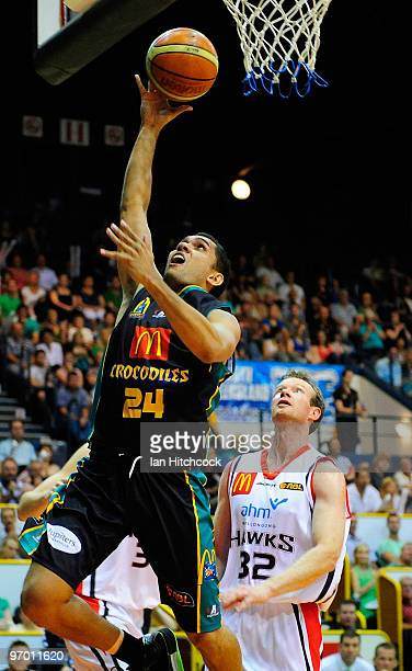 Michael Cedar of the Crocodiles makes a layup during game two of the NBL semi final series between the Townsville Crocodiles and the Wollongong Hawks...