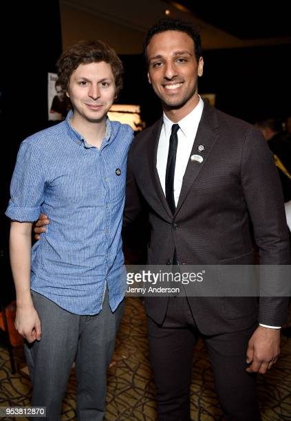 Michael Cera and Ari'el Stachel attend the 2018 Tony Awards Meet The Nominees Press Junket on May 2 2018 in New York City