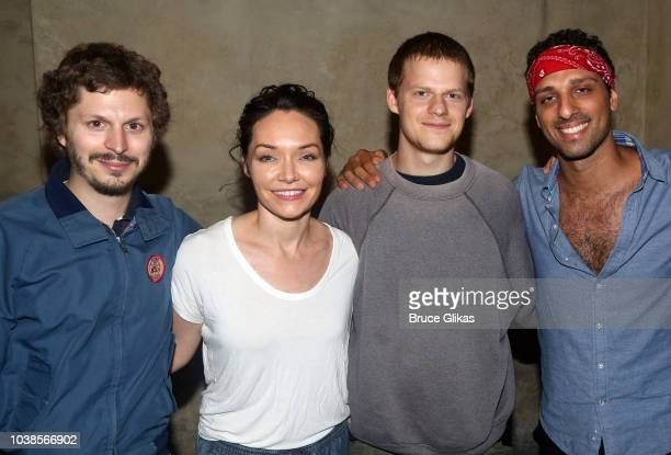Michael Cera Katrina Lenk Lucas Hedges and Ari'el Stachel pose backstage at the hit musical 'The Bands Visit' on Broadway at The Barrymore Theater on...
