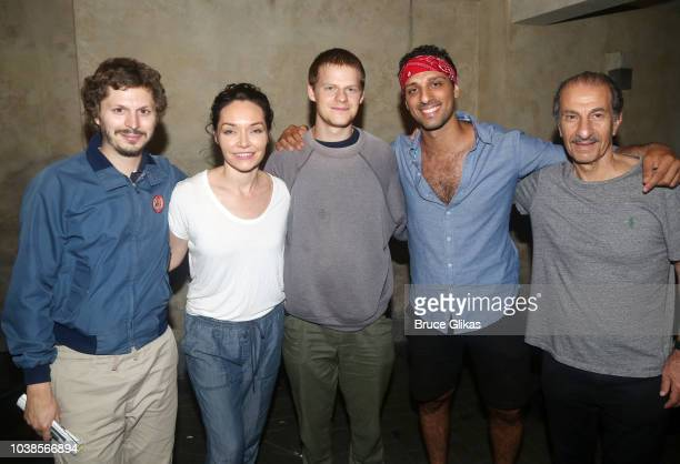Michael Cera Katrina Lenk Lucas Hedges Ari'el Stachel and Sasson Gabay pose backstage at the hit musical 'The Bands Visit' on Broadway at The...