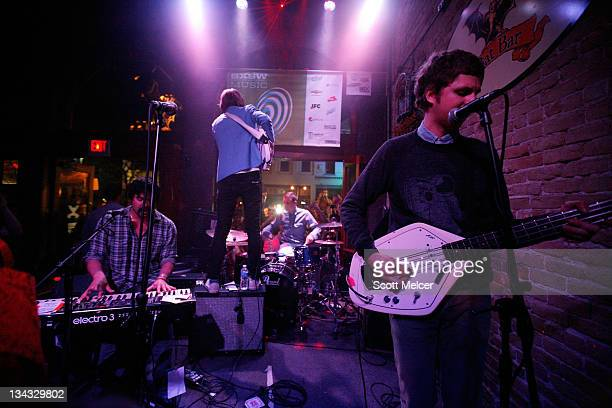 Michael Cera performs with music group Mister Heavenly onstage at the 2011 SXSW Music Film Interactive Festival Campfire Trails Showcase at The Bat...