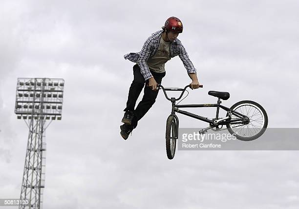 Michael Cernotta of Australia in action during the Graphite Dirty Deeds BMX Dirt Jump competition as part the 2004 Planet X Games at the Swan Oval...
