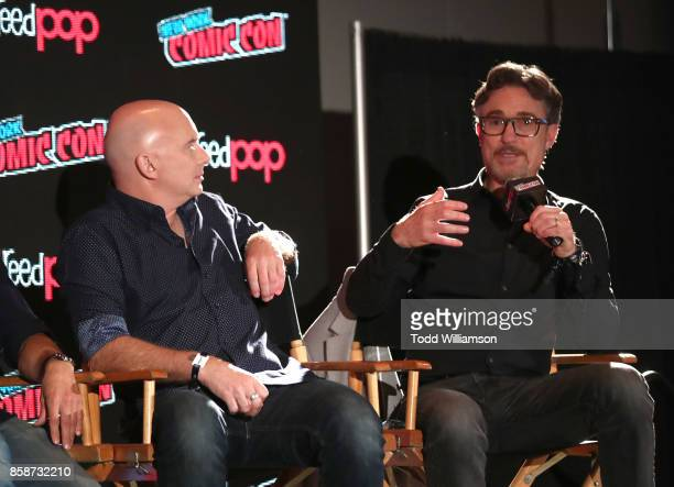 Michael Cerveris and Barry Josephson speak at Amazon Prime Video's The Tick New York Comic Con 2017 Panel at The Jacob K Javits Convention Center on...