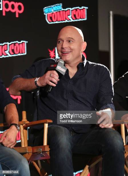 Michael Cerveris speaks at Amazon Prime Video's The Tick New York Comic Con 2017 Panel at The Jacob K Javits Convention Center on October 7 2017 in...