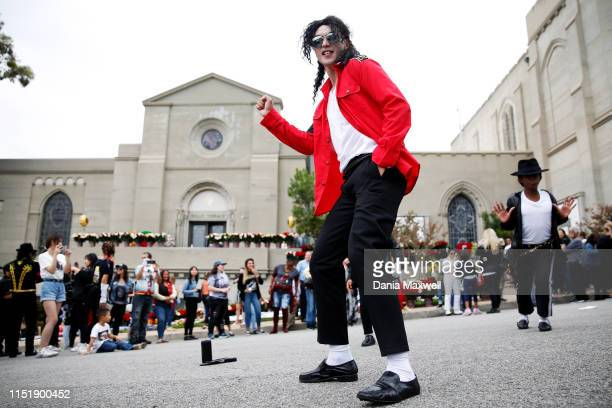 Michael Chan center dances at the Holly Terrace Grand Mausoleum where Michael Jackson is buried on the tenth anniversary of his death at Forest Lawn...