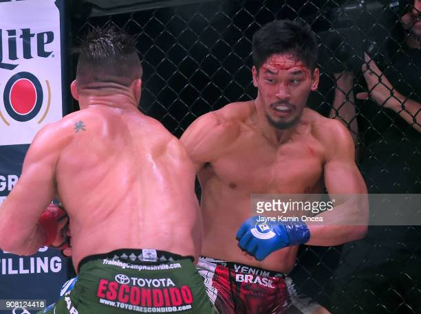 Michael Chandler Jr and Goiti Yamauchi during their Lightweight fight at Bellator 192 at The Forum on January 20 2018 in Inglewood California Michael...