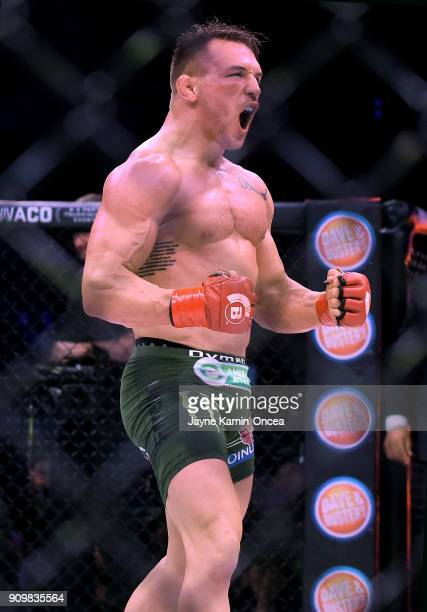 Michael Chandler Jr celebrates after defeating Goiti Yamauchi in their Lightweight fight at Bellator 192 at The Forum on January 20 2018 in Inglewood...