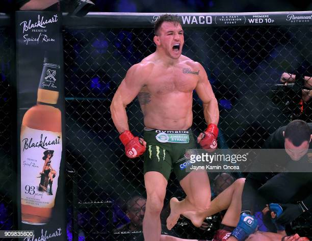 Michael Chandler Jr celebrates after defeating Goiti Yamauchi in their Lightweight fight at Bellator 192 at The Forum on January 20, 2018 in...