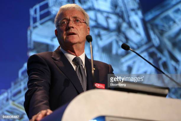 Michael Chaney outgoing chairman of Woodside Petroleum Ltd speaks during the company's annual general meeting in Perth Australia on Thursday April 19...