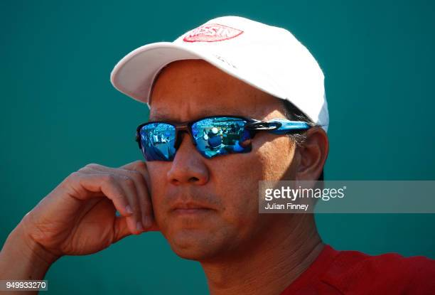 Michael Chang coach of Kei Nishikori of Japan looks on during day eight of ATP Masters Series Monte Carlo Rolex Masters at MonteCarlo Sporting Club...