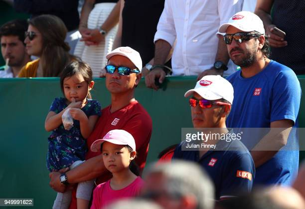 Michael Chang is seen after the match between Rafael Nadal of Spain and Kei Nishikori of Japan during day eight of ATP Masters Series Monte Carlo...