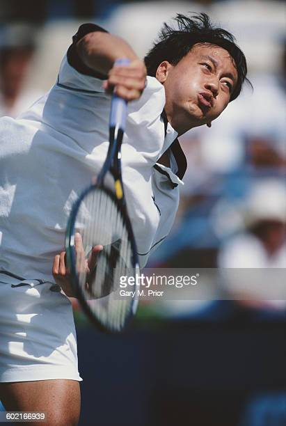 Michael Chang of the United States serves against Bohdan Ulihrach during their Newsweek Champions Cup Men's Singles Final match on 16 March 1997 at...