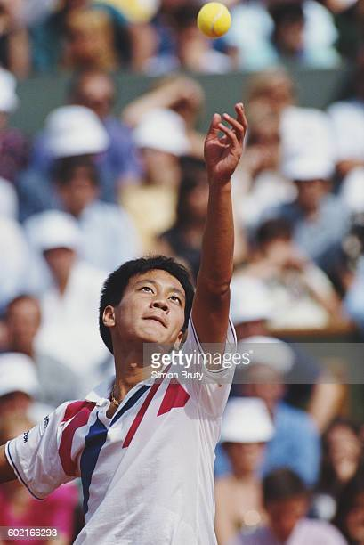 Michael Chang of the United States serves against Stefan Edberg during the Men's Singles Final at the French Open Tennis Championship on 11 June 1989...