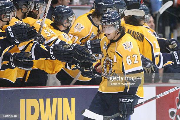 Michael Chaput of the Shawinigan Cataractes celebrates his second period goal with teammates during the 2012 MasterCard Memorial Cup game against the...