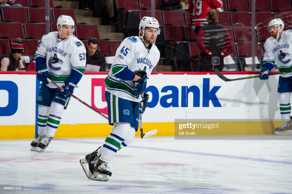 Michael Chaput #45 of the Vancouver Canucks warms up prior to the game against the Chicago Blackhawks at the United Center on March 21, 2017 in Chicago, Illinois. The Vancouver Canucks defeated the Chicago Blackhawks 5-4 in overtime.