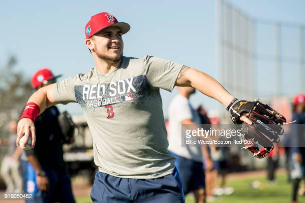 Michael Chavis of the Boston Red Sox throws during a team workout on February 16 2018 at Fenway South in Fort Myers Florida