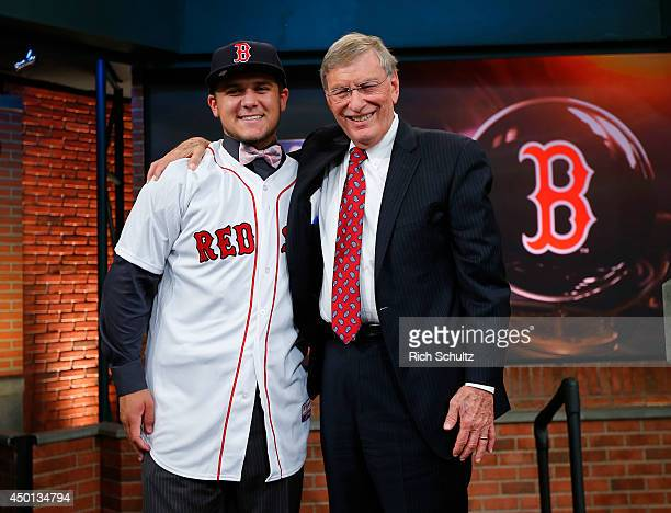 Michael Chavis poses with Commissioner Allan H. Bud Selig after being chosen 26th overall by the Boston Red Sox during the MLB First-Year Player...