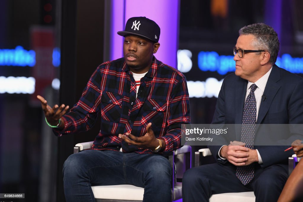 Michael Che and Jeffrey Toobin speak onstage during