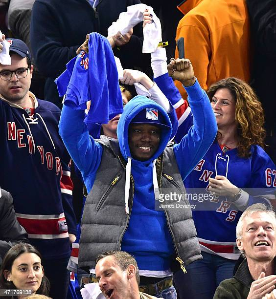 Michael Che attends the Washington Capitals vs New York Rangers playoff game at Madison Square Garden on April 30 2015 in New York City