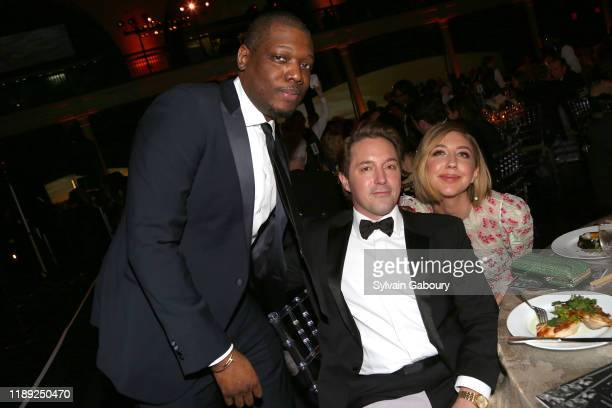 Michael Che, Beck Bennett and Heidi Gardner attend The American Museum of Natural History's 2019 Museum Gala at American Museum of Natural History on...