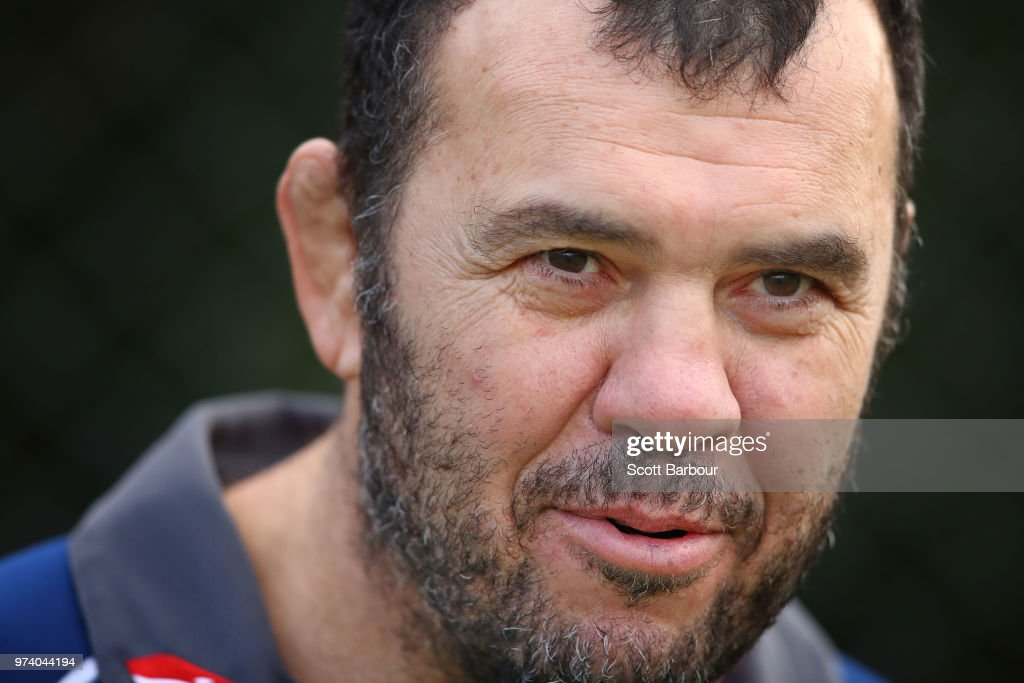 Michael Cheika, Coach of the Wallabies looks on during an Australian Wallabies media opportunity at Melbourne Grammar School on June 14, 2018 in Melbourne, Australia.
