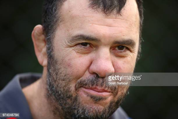 Michael Cheika Coach of the Wallabies looks on during an Australian Wallabies media opportunity at Melbourne Grammar School on June 14 2018 in...