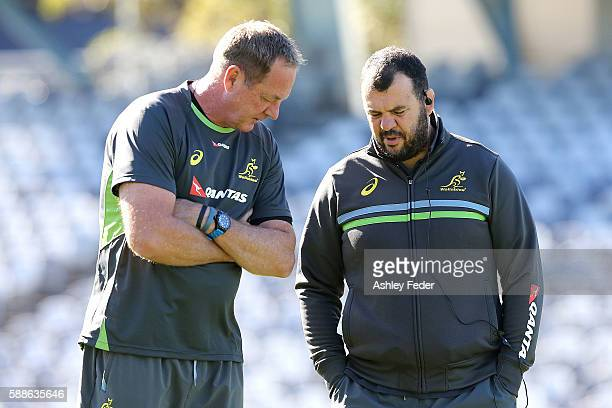 Michael Cheika coach of the Wallabies talks during an Australian Wallabies training session at Central Coast Stadium on August 12 2016 in Gosford...