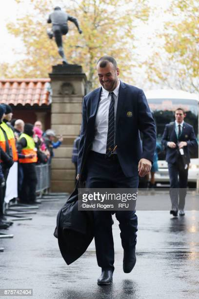 Michael Cheika head coach of Australia arrives at the stadium prior to the Old Mutual Wealth Series match between England and Australia at Twickenham...