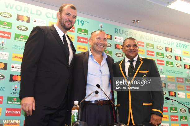 Michael Cheika head coach of Australia Eddie Jones head coach of England and Allister Coetzee head coach of South Africa attend a press conference...