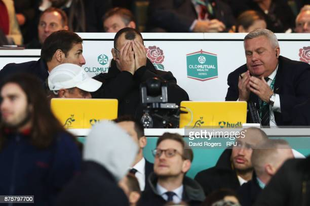 Michael Cheika head coach of Australia looks dejected during the Old Mutual Wealth Series match between England and Australia at Twickenham Stadium...