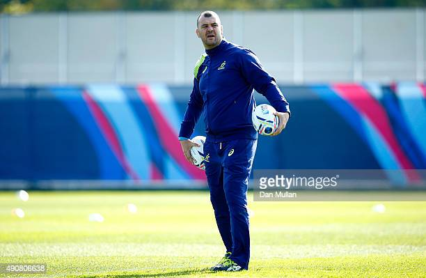 Michael Cheika, Head Coach of Australia looks on during a training session at Dulwich College on October 1, 2015 in London, United Kingdom.