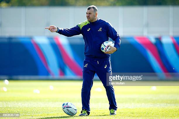 Michael Cheika, Head Coach of Australia takes charge during a training session at Dulwich College on October 1, 2015 in London, United Kingdom.