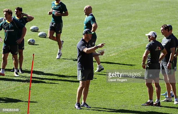 Michael Cheika the Wallaby head coach issues instructions during the Australian Wallabies captain's run at Suncorp Stadium on June 10 2016 in...