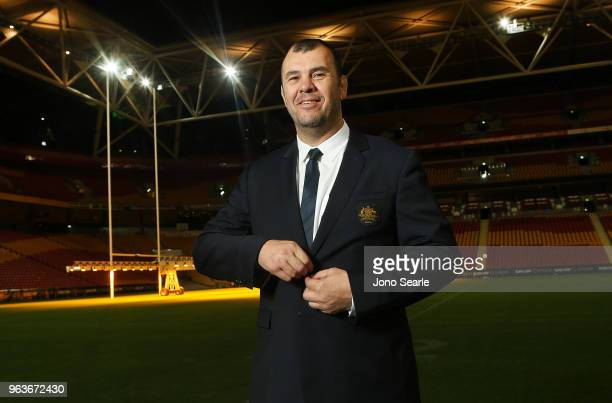 Michael Cheika Wallabies coach poses during the Australia Wallabies squad announcement at Suncorp Stadium on May 30 2018 in Brisbane Australia