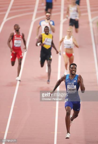 Michael Cherry of the United States competes in the 4x400 Metres Mixed Relay during day three of 17th IAAF World Athletics Championships Doha 2019 at...