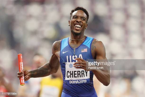 Michael Cherry of the United States crosses the finish line in the 4x400 Metres Mixed Relay during day three of 17th IAAF World Athletics...