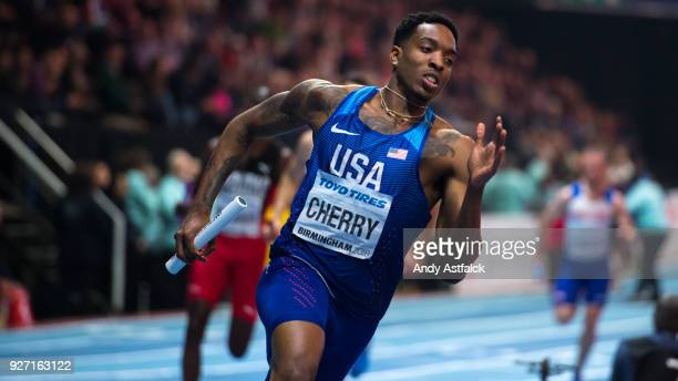 Michael Cherry of the USA during the Men's 4x400m Final on Day 4 of the IAAF World Indoor Championships at Arena Birmingham on March 4 2018 in...