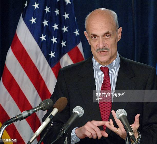 Michael Chertoff Homeland Security Secretary speaks to the media in Washington DC on Thursday April 20 about a 26state sweep that snared over 1000...