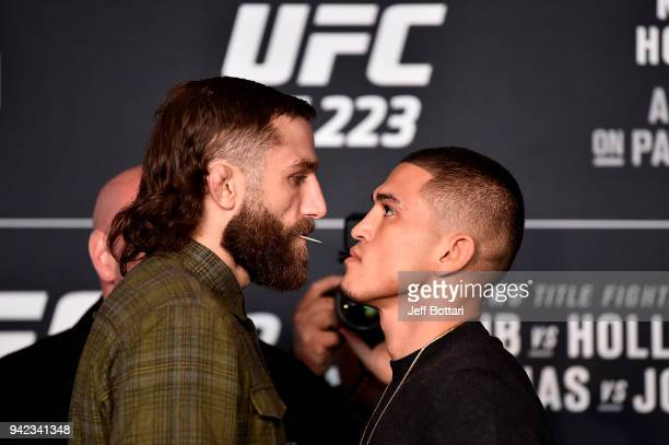 Michael Chiesa and Anthony Pettis face off during the UFC 223 Ultimate Media Day inside Barclays Center on April 5 2018 in Brooklyn New York