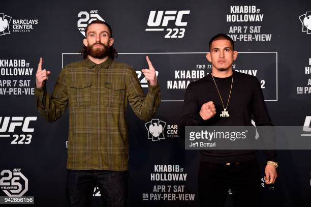 Michael Chiesa and Anthony Pettis pose for the media during the UFC 223 Ultimate Media Day inside Barclays Center on April 5 2018 in Brooklyn New York