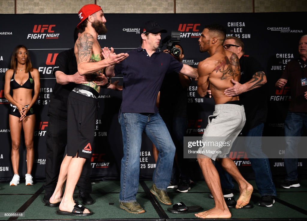 Michael Chiesa and Kevin Lee face off during the UFC Fight Night weigh-in on June 24, 2017 in Oklahoma City, Oklahoma.