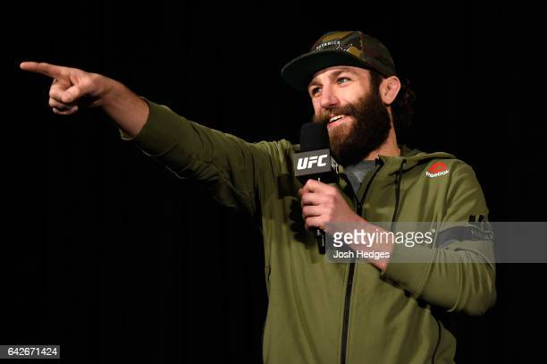 Michael Chiesa answers questions from the media and fans during a QA before the UFC Fight Night weighin at the World Trade Convention Centre on...