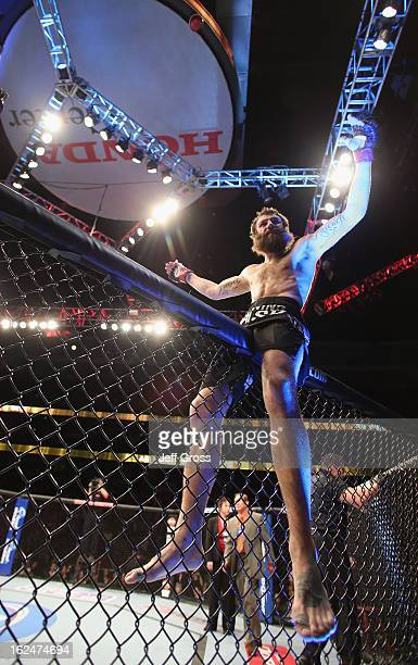 Michael Chiesa celebrates following his Lightweight victory over Anton Kuivanen of Finland at Honda Center on February 23 2013 in Anaheim California