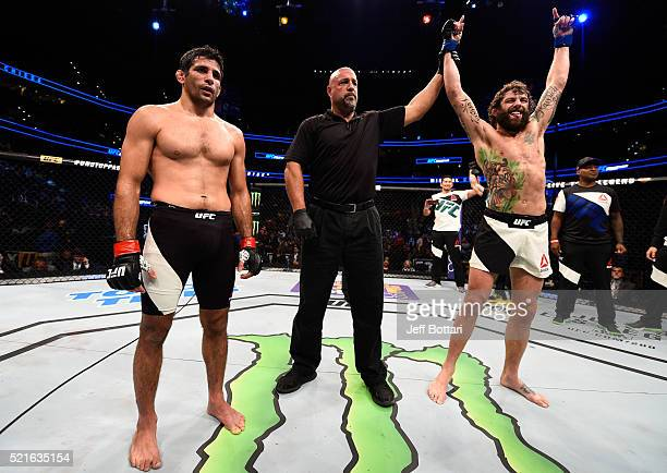 Michael Chiesa celebrates his submission victory over Beneil Dariush in their lightweight bout during the UFC Fight Night event at Amalie Arena on...