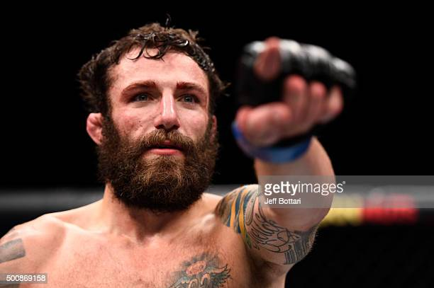 Michael Chiesa celebrates his win over Jim Miller in their lightweight bout during the UFC Fight Night event at The Chelsea at the Cosmopolitan of...