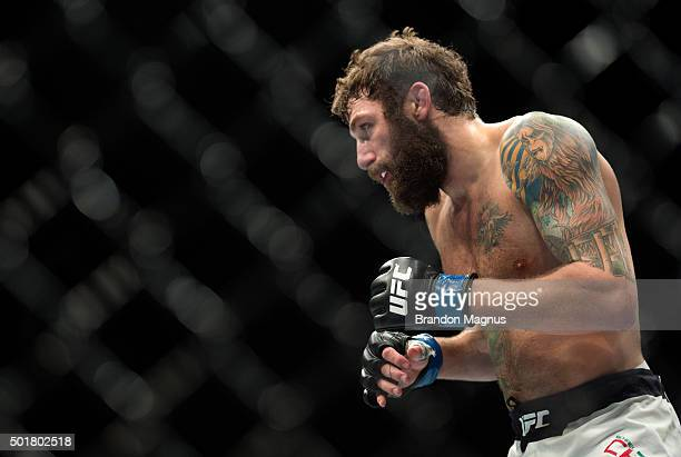 Michael Chiesa circles Jim Miller in their lightweight bout during the UFC Fight Night event at The Chelsea at the Cosmopolitan of Las Vegas on...