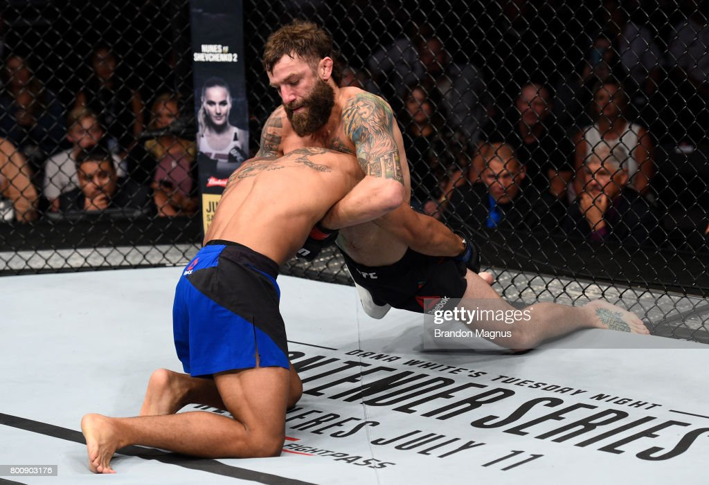 Michael Chiesa defends against a takedown attempt by Kevin Lee in their lightweight bout during the UFC Fight Night event at the Chesapeake Energy Arena on June 25, 2017 in Oklahoma City, Oklahoma.