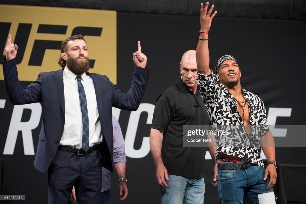 Michael Chiesa faces off with Kevin Lee during the UFC Summer Kickoff Press Conference at the American Airlines Center on May 12, 2017 in Dallas, Texas.