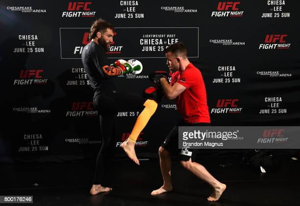 Michael Chiesa holds an open workout session for the fans and media at Lovatos School of Brazilian JiuJitsu on June 23 2017 in Oklahoma City Oklahoma